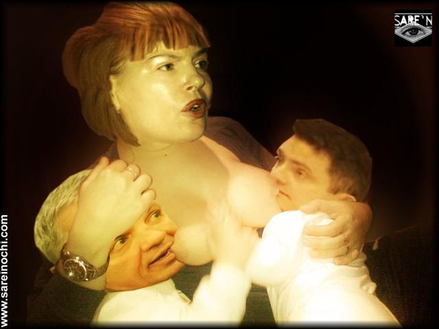 Pivniceru prefăcându-se că alăptează niște năpârci la sân...