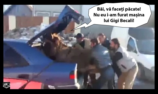 Oamenii lui Becali completându-i caii putere la Qhiu-șasăle personal, după ce Justiția i-a luat acestuia boii de la bicicletă.