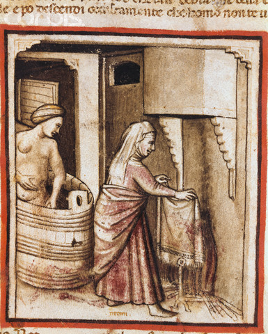 14th-Century Italian Illumination of a Paduan Taking a Bath
