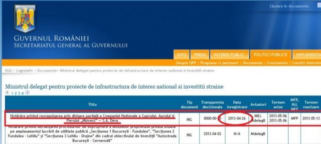 Hotărârea privind reorganizarea MINVEST, publicată pe site-ul Guvernului României pe 26 aprilie