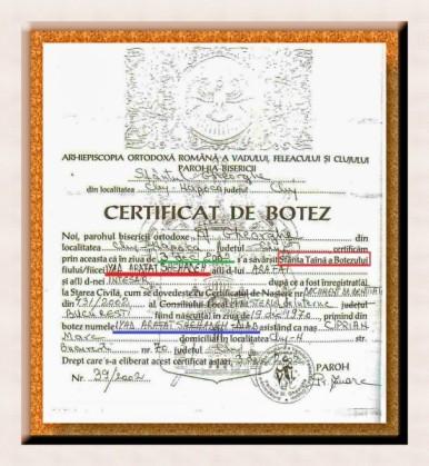 Certificatul de botez al palestinianului Iyad Arafat Shehaden – DIAB, un CREȘTIN MUSULMAN de conjunctură